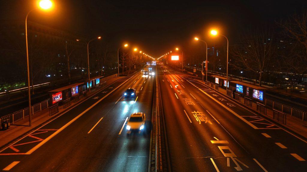 Cars at night, China